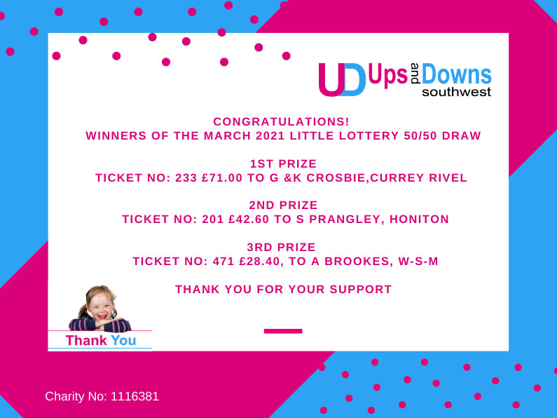 5050 Winners March 2021 Little Lotto Ups and Downs Southwest